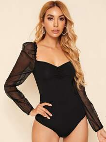 Sweetheart Neck Mesh Panel Slim Bodysuit