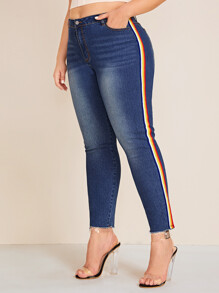 Plus Raw Hem Side Stripe Jeans