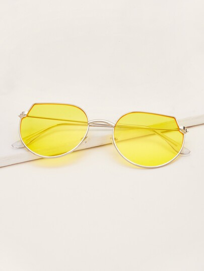 Men Metal Frame Tinted Lens Sunglasses