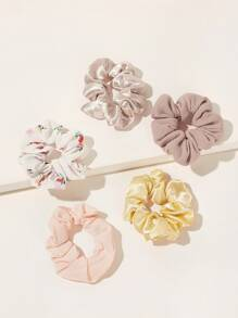 Solid Pattern Scrunchie 5pcs