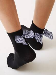 Gingham Bow Decor Socks 1pair