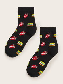 Cola & Burger Pattern Socks 1pair