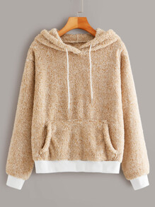 Drop Shoulder Kangaroo Pocket Teddy Hoodie
