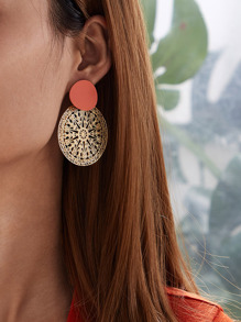Two Tone Hollow Out Round Drop Earrings 1pair