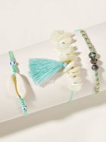 Shell & Tassel Decor String Anklet 3pcs