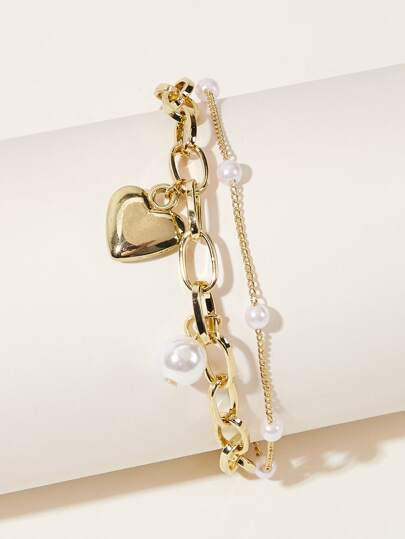 Faux Pearl & Heart Decor Chain Bracelet 1pc
