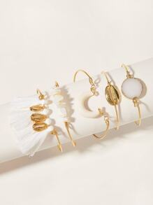 Moon & Tassel Decor Bracelet 5pcs