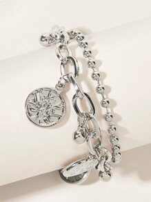 Round Charm Layered Bracelet 1pc