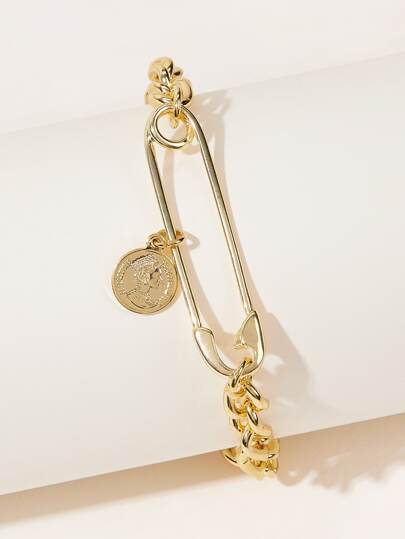 Coin & Paperclip Decor Chain Bracelet 1pc