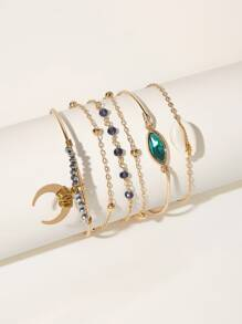 Moon & Shell Decor Chain Bracelet 6pcs