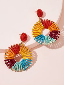 Round Beaded Hoop Drop Earrings 1pair