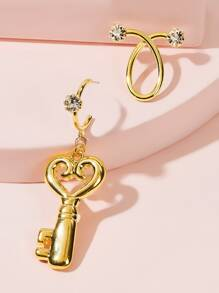Heart Shaped Key Mismatched Drop Earrings 1pair