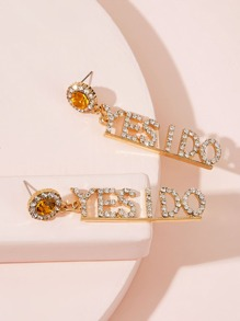 Rhinestone Engraved Letter Drop Earrings 1pair