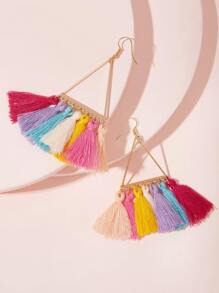 Triangle Tassel Drop Earrings 1pair