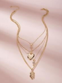 Cross & Heart Charm Layered Necklace 1pc