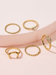 Moon & Rhinestone Decor Ring 5pcs