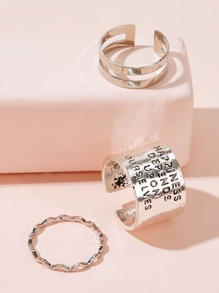 Letter Engraved Wide Cuff Ring 3pcs