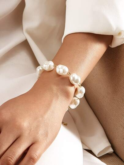 Faux Pearl Beaded Bracelet 1pc