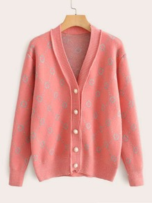 Geometric Print Pearls Button Front Cardigan