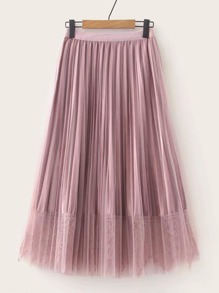 Pleated Contrast Lace Overlay Mesh Skirt