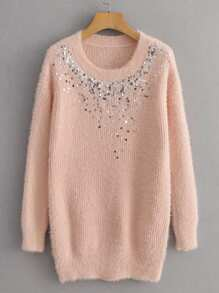 Contrast Sequin Fluffy Longline Sweater
