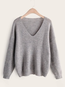 Space Dye V-Neck Drop Shoulder Sweater