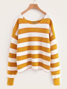 Striped Scoop Neck Drop Shoulder Sweater