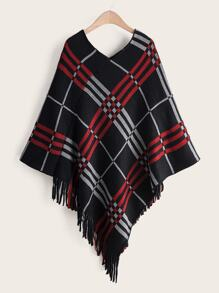 Plaid Fringe Hem Poncho Sweater