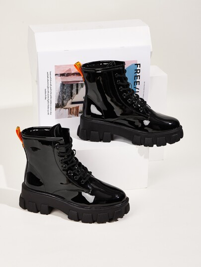 Lace-up Front Patent Leather Ankle Boots