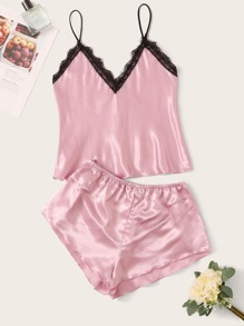 Contrast Lace Satin Cami PJ Set