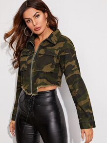 Camouflage Raw Hem Zipper UP Denim Jacket