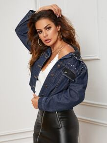 Faux Pearl Beaded Single Breasted Denim Jacket