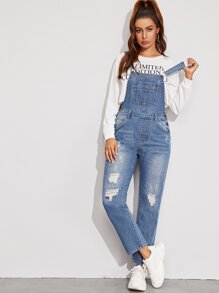 Washed Ripped Denim Dungarees