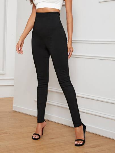 Side Zipper High Rise Jeggings