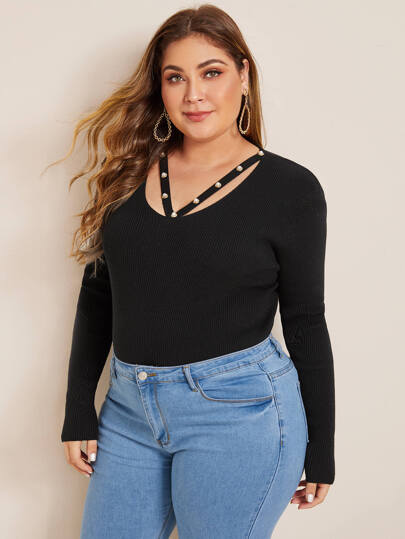 Plus Faux Pearl Detail Cut Out Sweater