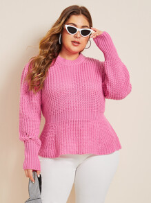 Plus Peplum Chunky Knit Sweater