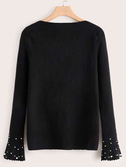 Plus Faux Pearl Stud Flute Sleeve Knit Sweater