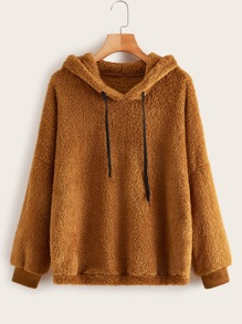 Solid Drop Shoulder Drawstring Teddy Hoodie