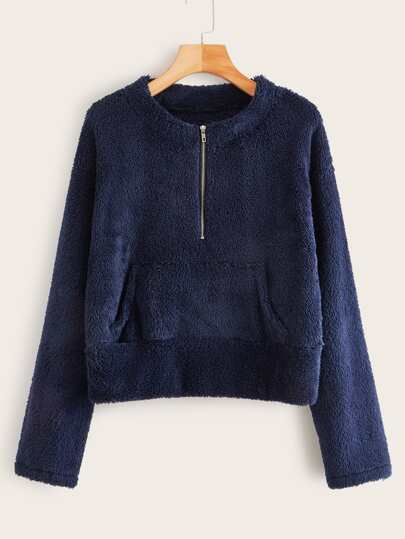 Faux Shearling Kangaroo Pocket Half Zipper Sweatshirt
