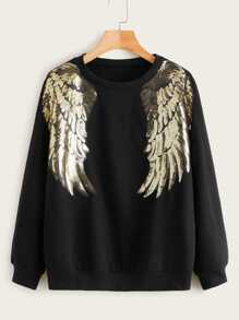 Sequin Wing Patched Sweatshirt