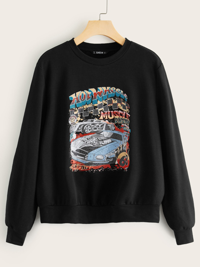 Car & Letter Graphic Pullover