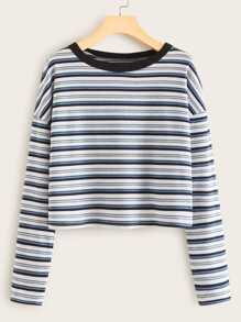 Striped Drop Shoulder Ribbed Tee