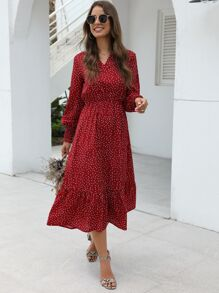 Polka Dot V-neck Ruffle Hem Dress