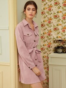 Solid Button Through Belted Corduroy Shirt Dress