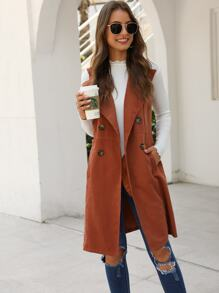 Solid Double-breasted Waterfall Collar Trench Vest