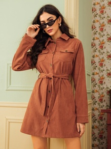 Button Front Belted Corduroy Shirt Dress