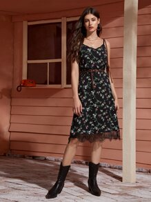 Contrast Lace Floral Print Cami Dress Without Belted