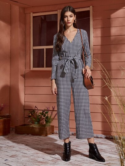V-neck Gingham Self Tie Jumpsuit