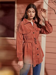 Button Through Belted Corduroy Coat