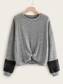 Contrast Lace Twist Front Sweater